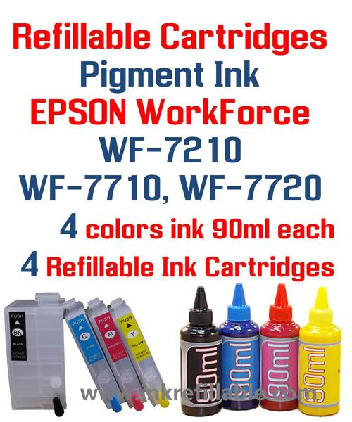 Refillable 252XL w/ 400ml Pigment Sublimation ink for Epson wf-3620 wf-3640 wf-7710 wf-7720 wf-7210