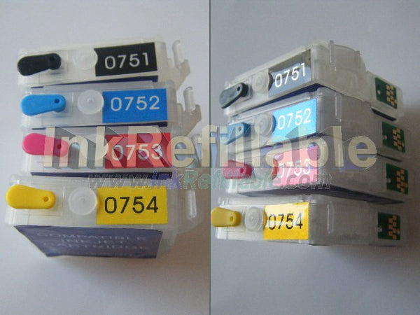Refillable T0751 T0752 T0753 T0754 75 black cyan magenta yellow ink cartridge for Epson Stylus C59 CX2900 CX2905 PRINTER