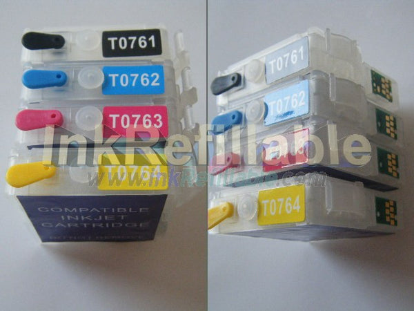 Refillable T0761 T0762 T0763 T0764 black cyan magenta yellow ink cartridge Epson Stylus C58 CX2800 CX2900 ME2 ME200 printer