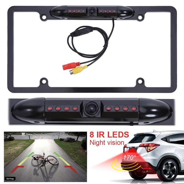 Rear-View Backup Camera With License Plate Frame