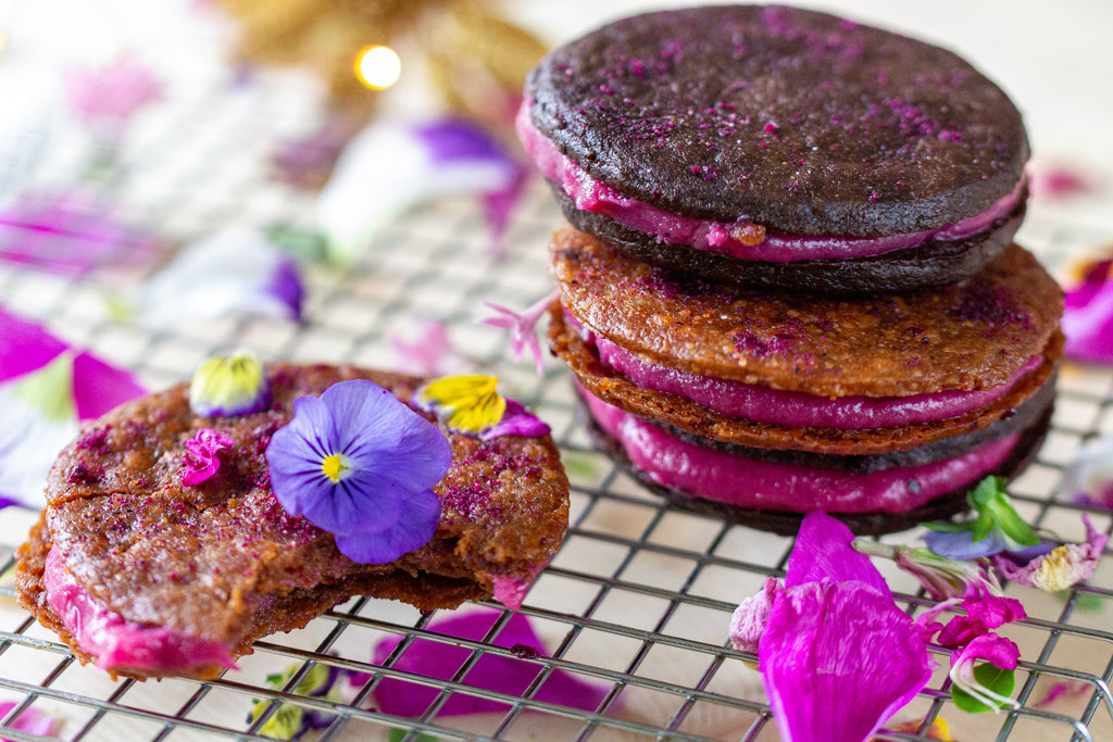 Vegan Dragonfruit Sandwich Cookies