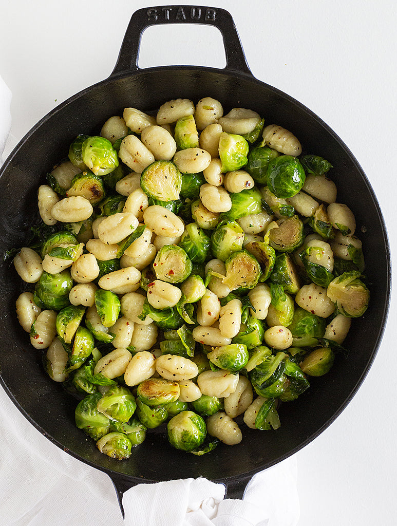 Almond Flour Gnocchi with Brussels Sprouts