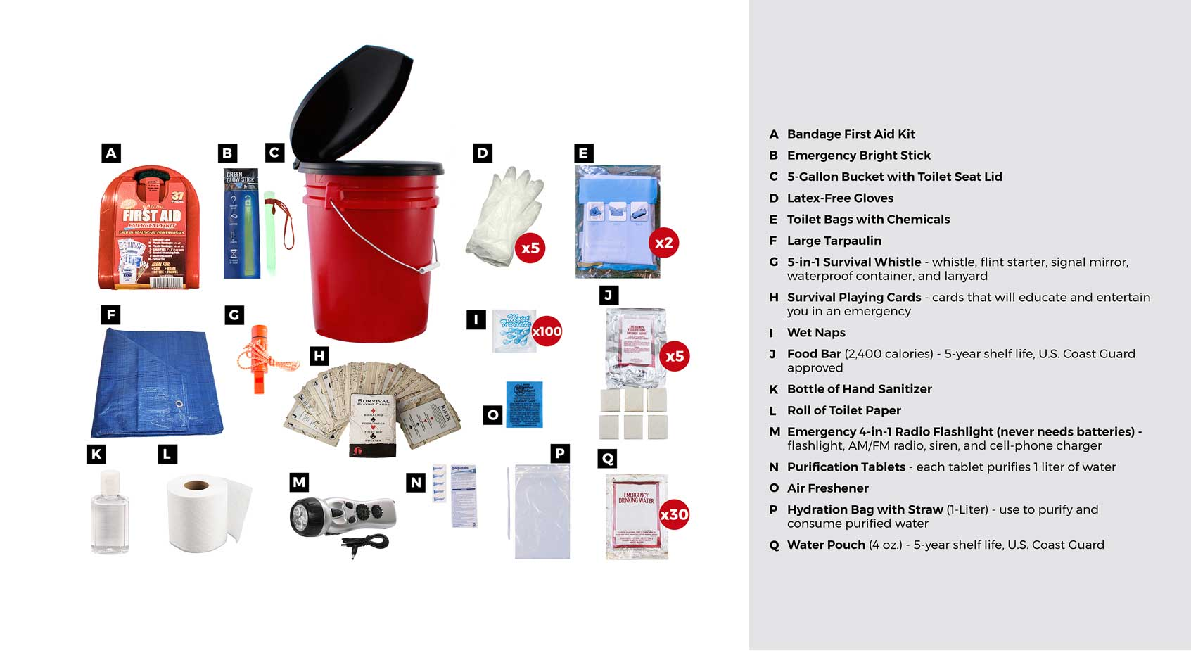 deluxe classroom lockout bucket survival kit