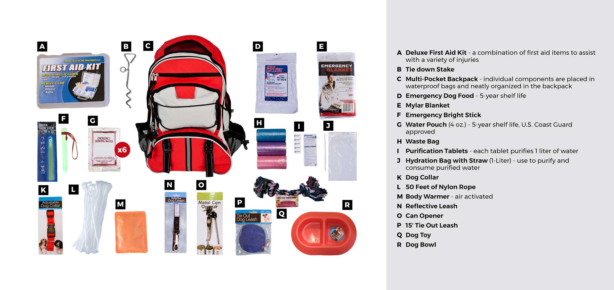 deluxe dog survival emergency kit
