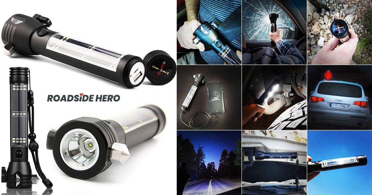 Roadside HERO ™ 9-IN-1 Auto Emergency Flashlight Device