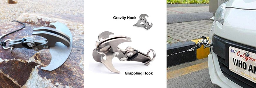 The Stainless Steel Gravity/Grappling Hook with Magnetic Retriever