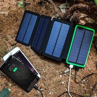 Portable 10,000mAH 4-Fold Solar Dual-USB Charger and LED Light
