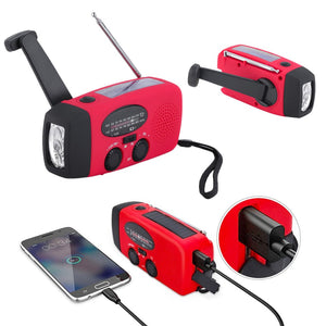 Portable Emergency Solar/Dynamo/DC & AM/FM/NOAA Radio & LED Flashlight & 1000mAh Charger Power Bank