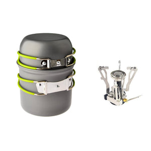 Ultralight Portable Outdoor Pot Pan & Stove Set with Piezo Ignition