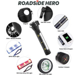 Roadside HERO ™ 9-IN-1 Multi-Function Flashlight / Survival Tool / Power Bank / Solar & USB