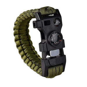15-in-1 Paracord Bracelet 550lbs with Whistle, Fire Starter, Compass, Thermometer & Multi-Tool