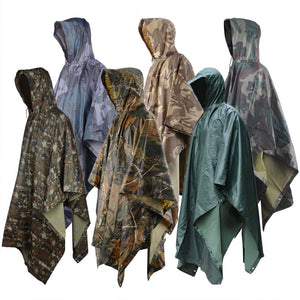SA-RC1 Military Style Hooded Rain Poncho & Multi-Purpose Waterproof Shelter / Tent / Picnic Mat