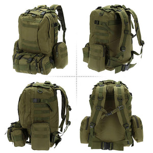 SA-3M50 Large Military Style Outdoor 50L Backpack/Daypack w/ 3 MOLLE Bags