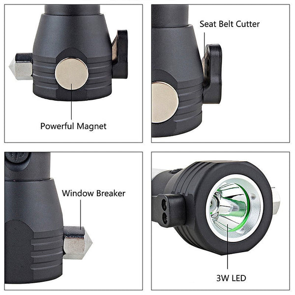 Solar Powered Multi-Function Flashlight with Survival Compass, Hammer, Belt Cutter, Power Bank