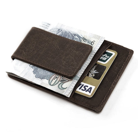 Wallet & Moneyclip for Cards, ID, Money - Brown and Black