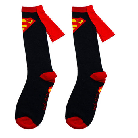 Superman Cape Socks - Black & Red with Cape