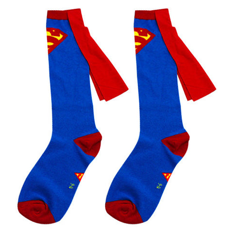 Classic Superman Cape Socks - Blue & Red with Cape