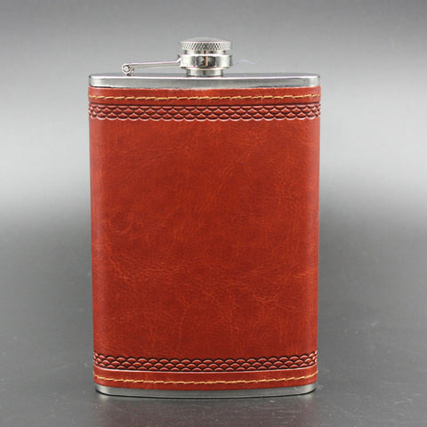 9oz Stainless Steel & Leather Hip Flask