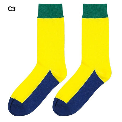 Yellow, Green, and Navy Dress Socks