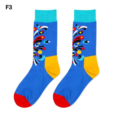 Blue Color Splash Dress Socks