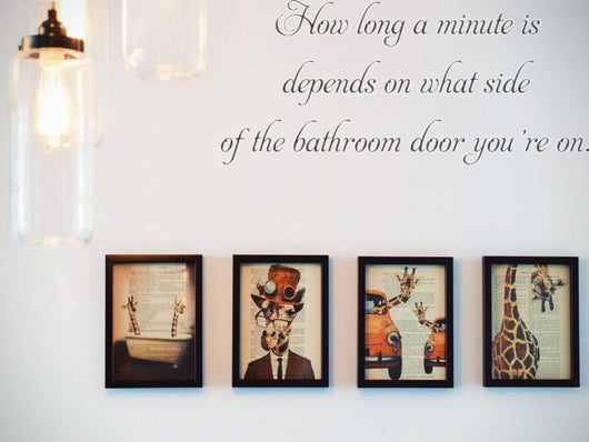 How long a minute is depends on what side of the bathroom door you're on.  Car or Wall Vinyl Decal - Fusion Decals