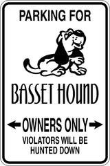 Parking for Basset Hound Owners Only Sign Vinyl Wall Decal - Fusion Decals