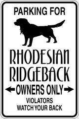 Parking for Rhodesian Ridgeback Owners Only Sign Vinyl Wall Decal - Fusion Decals