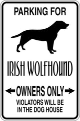 Parking for Irish Wolfhound Owners Only Sign Vinyl Wall Decal - Fusion Decals