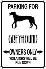 Parking for Greyhound Owners Only Sign Vinyl Wall Decal - Fusion Decals