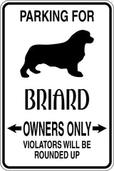 Parking for Briard Owners Only Sign Vinyl Wall Decal - Fusion Decals