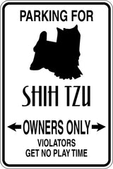 Parking for Shih Tzu Owners Only Sign Vinyl Wall Decal - Fusion Decals