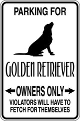 Parking for Golden Retriever Owners Only Sign  - Car or Wall Decal - Fusion Decals