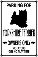 Parking for Yorkshire Terrier Owners Only Sign  - Car or Wall Decal - Fusion Decals