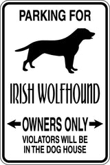 Parking for Irish Wolfhound Owners Only Sign  - Car or Wall Decal - Fusion Decals