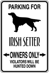 Parking for Irish Setter Owners Only Sign  - Car or Wall Decal - Fusion Decals