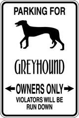 Parking for Greyhound Owners Only Sign  - Car or Wall Decal - Fusion Decals