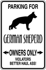 Parking for German Sheperd Owners Only Sign  - Car or Wall Decal - Fusion Decals
