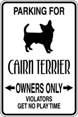 Parking for Cairn Terrier Owners Only Sign  - Car or Wall Decal - Fusion Decals