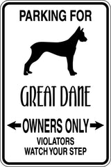 Parking for Great Dane Owners Only Sign  - Car or Wall Decal - Fusion Decals