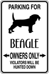 Parking for Beagle Owners Only Sign  - Car or Wall Decal - Fusion Decals
