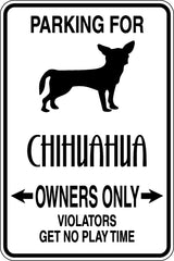 Parking for Chihuahua Owners Only Sign  - Car or Wall Decal - Fusion Decals