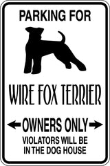 Parking for Wire Fox Terrier Owners Only Sign  - Car or Wall Decal - Fusion Decals