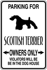 Parking for Schottish Terrier Owners Only Sign  - Car or Wall Decal - Fusion Decals