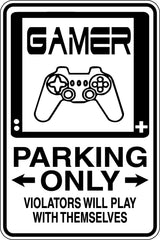Gamer Parking Only Sign  - Car or Wall Decal - Fusion Decals