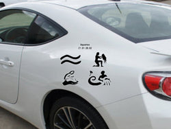 Aquarius-21.01-20.02-All 4  Kanji  - Car or Wall Decal - Fusion Decals