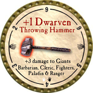 +1 Dwarven Throwing Hammer - 2012 (Gold)