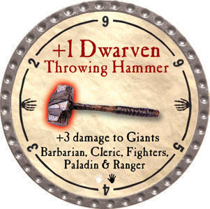 +1 Dwarven Throwing Hammer - 2012 (Platinum) - C37
