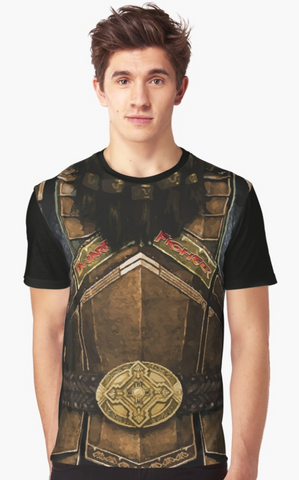 Dungeon Adventure Graphic T-Shirt: Dwarf Fighter