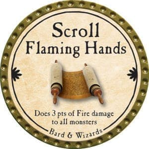 Scroll Flaming Hands - 2015 (Gold)