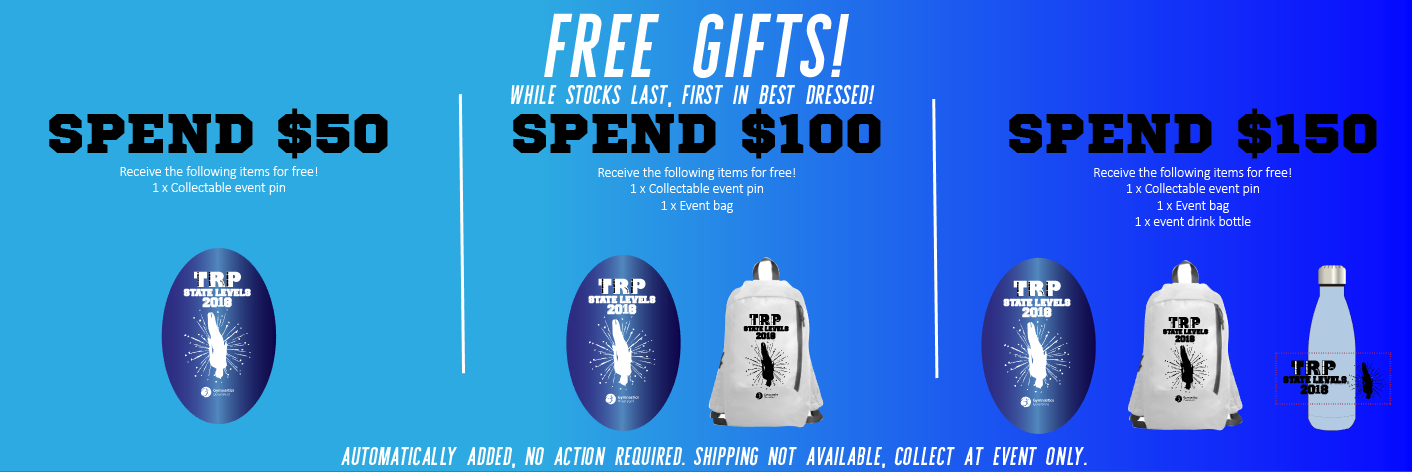 2018 State Levels Trampoline Free Gifts Offer GMD Activewear Australia